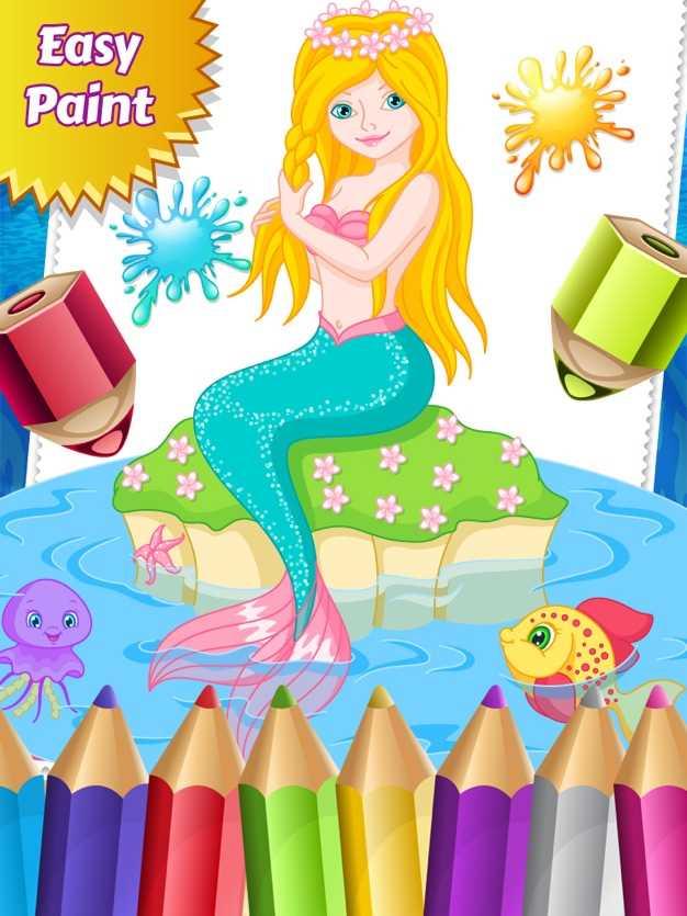 人鱼公主配色图纸进行绘制着色游戏的孩子截图欣赏
